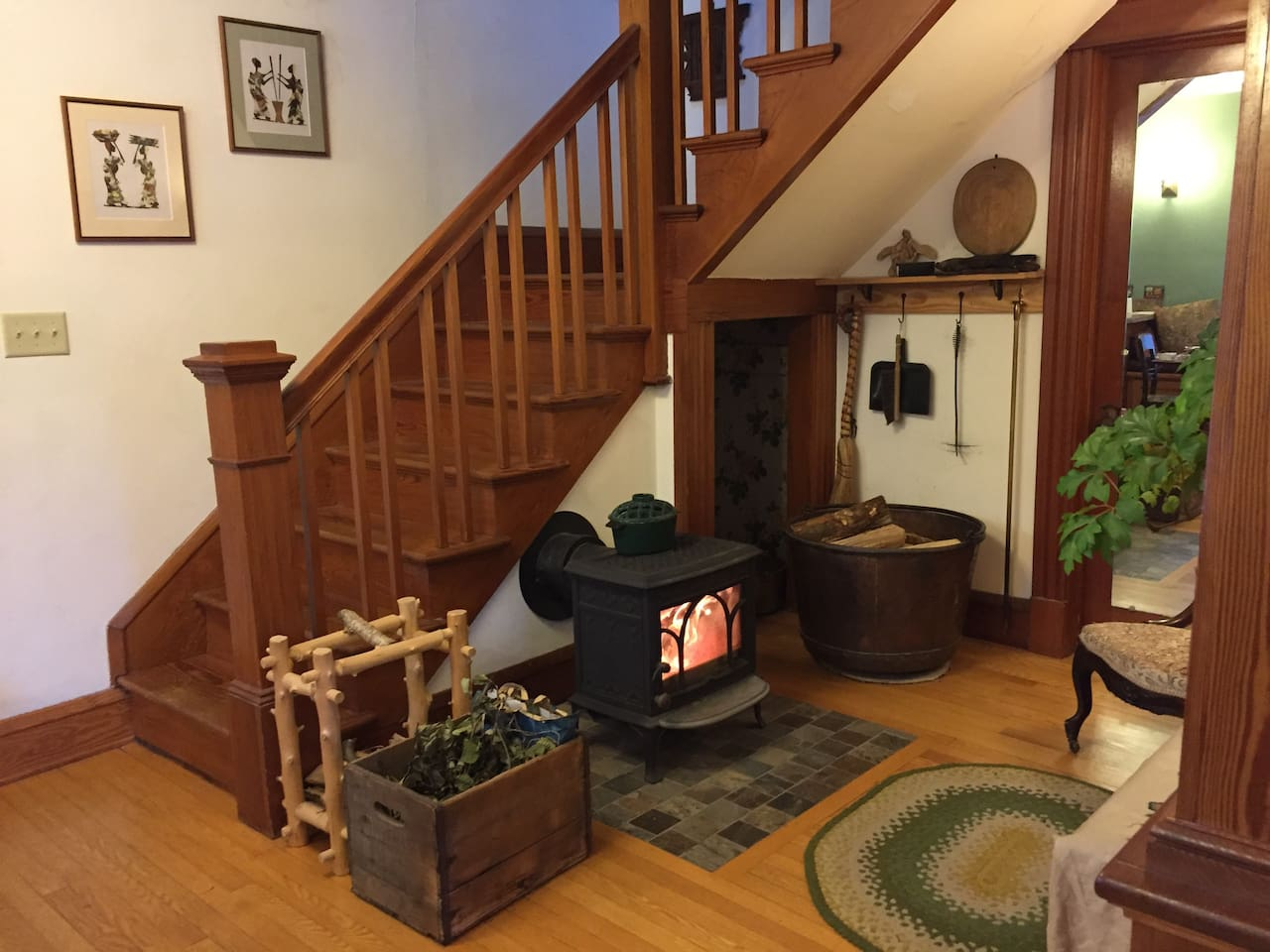 Our shared wood stove area is a warm and cozy place to be in winter!