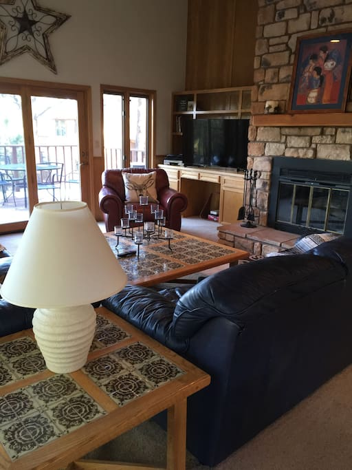 Large den for family gatherings w/beautiful stone fireplace.