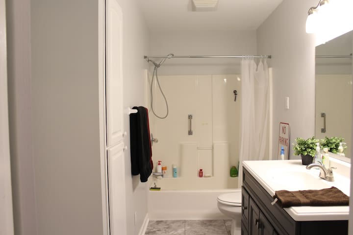 Shared bathroom and shower down the hall