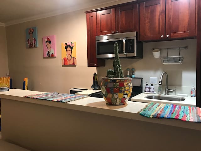 Plenty of counter space. fully stocked kitchen