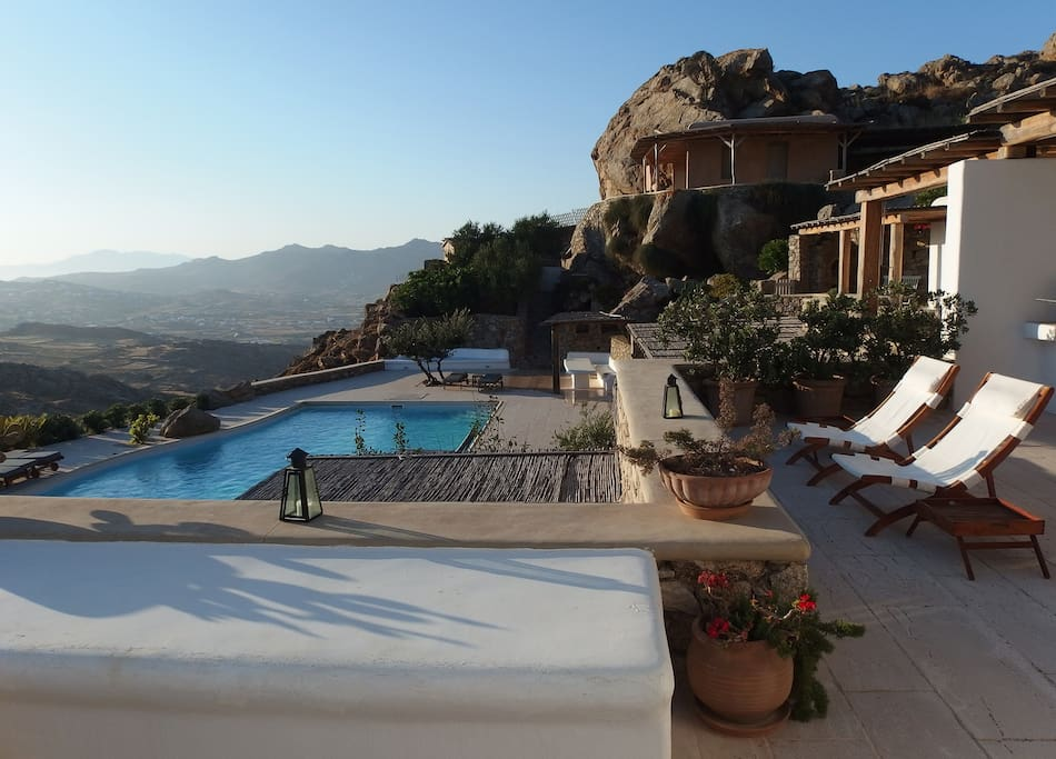 Private terrace with communal pool below