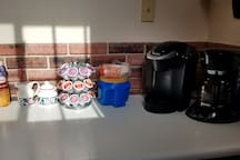 Keurig and 12 cup coffee maker.  Coffee, filters, kcups and condiments provided.