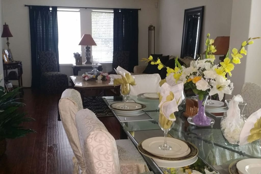 Formal dining room table seats 6-8