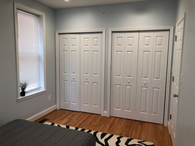 Ample closet and storage space in private bedroom.
