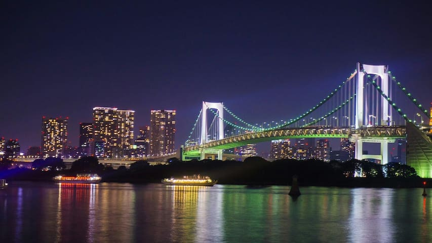 Odaiba night view,Seaside Park,Bigsight,Ginnza