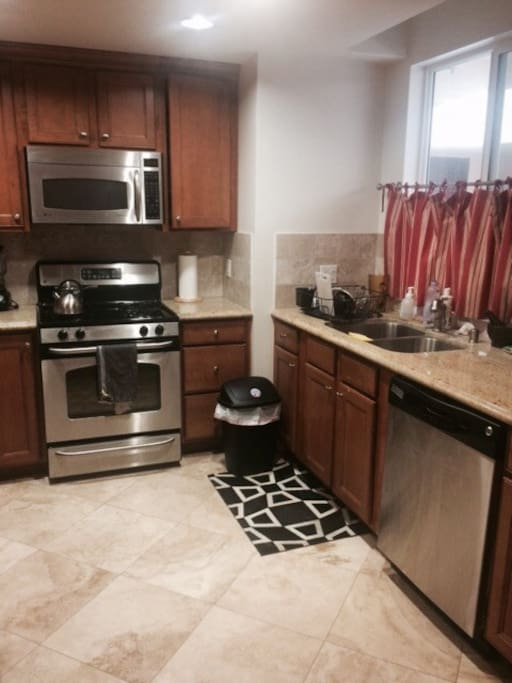 Clean, fully stocked kitchen. Comes with coffee and cereal/oatmeal in the morning.