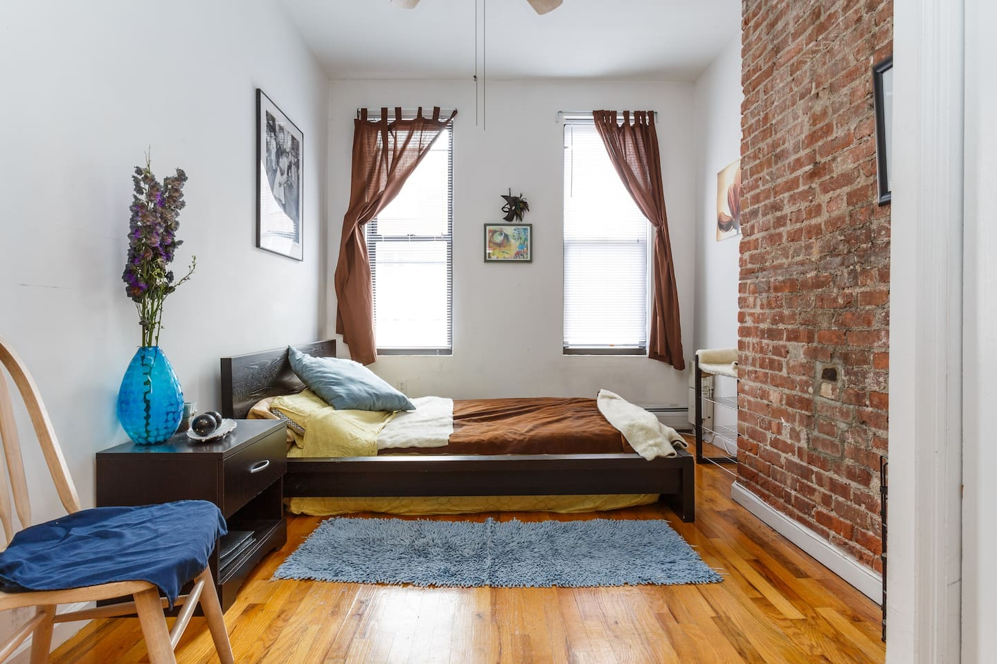 Bedroom #1  - Wonderful exposed brick, lots of space for luggage
