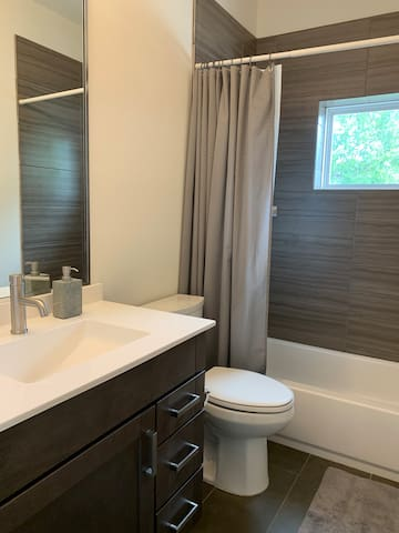 Bathroom shared with one other person living in the house.  A half bath is also available to you downstairs.