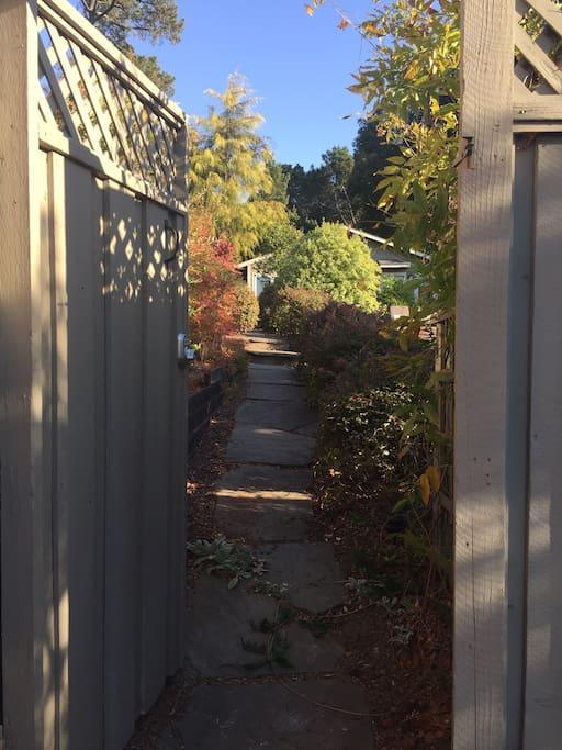Keyless lock gate entrance to property