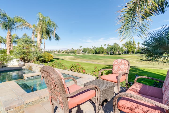 Grab a cold beverage and unwind under the shaded palms by the golf course.