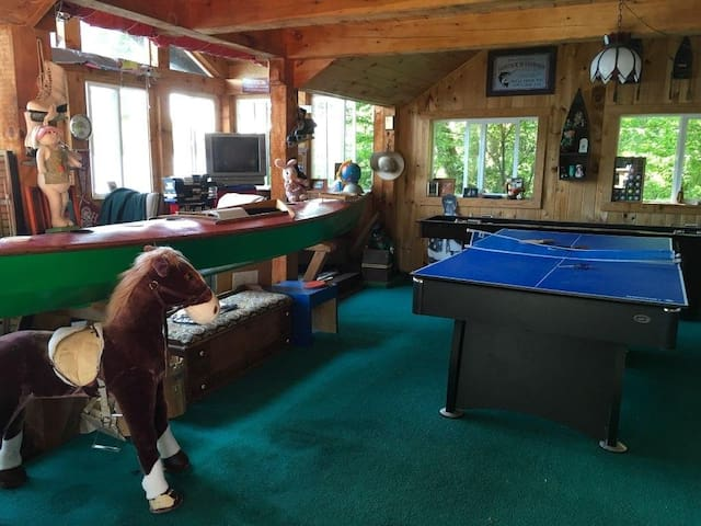Mr. Knights boathouse game room. Pool table ping pong shuffle board view over looking Lake.