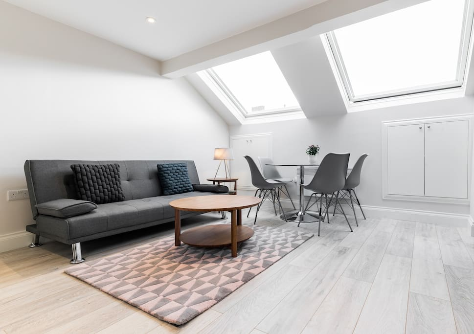 The skylights make the room super bright and airy.