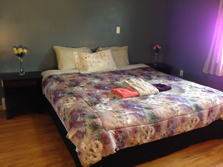 King bed and two bed sides
