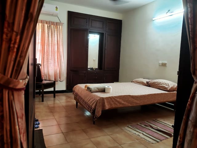 Master Bedroom with AC Unit & Attached bathroom