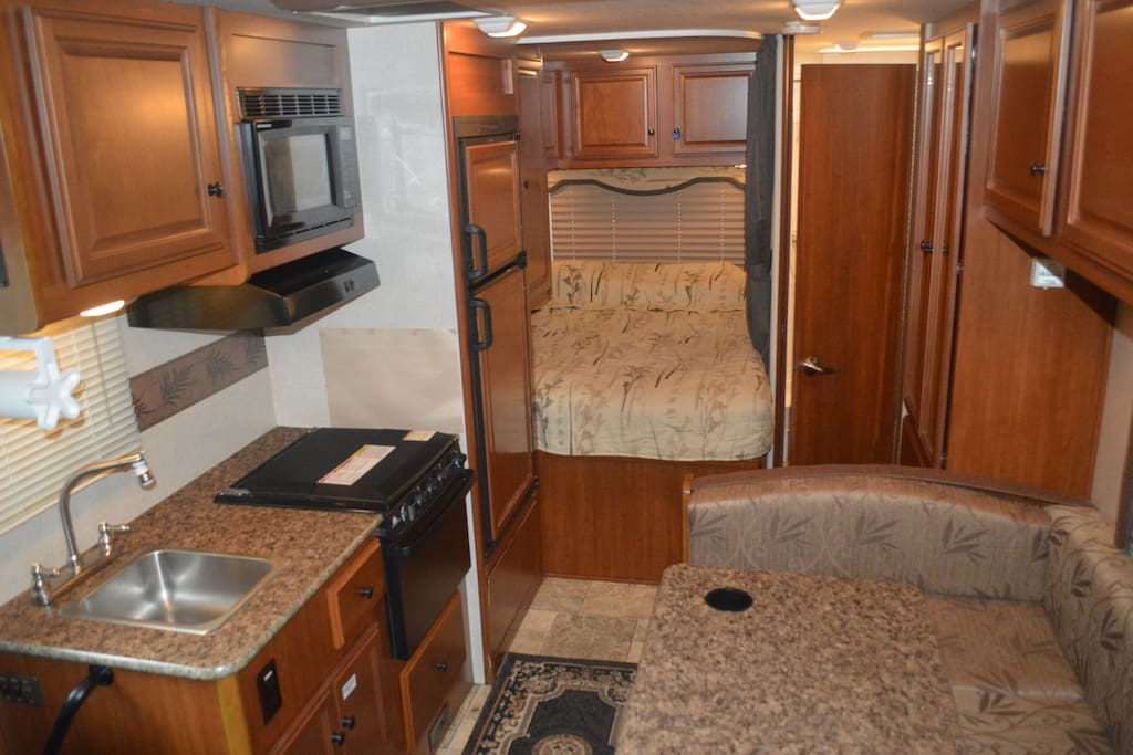 Full kitchen with microwave