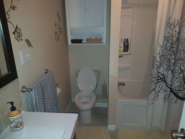 Sage Room bathroom (1of4 rooms available, see our other room listings for other options)