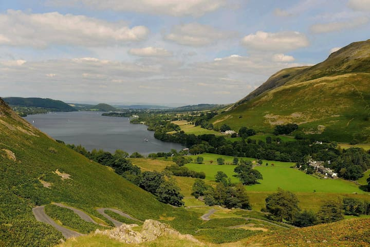 The view from Howtown end of Ullswater lake towards Pooley Bridge and Penrith