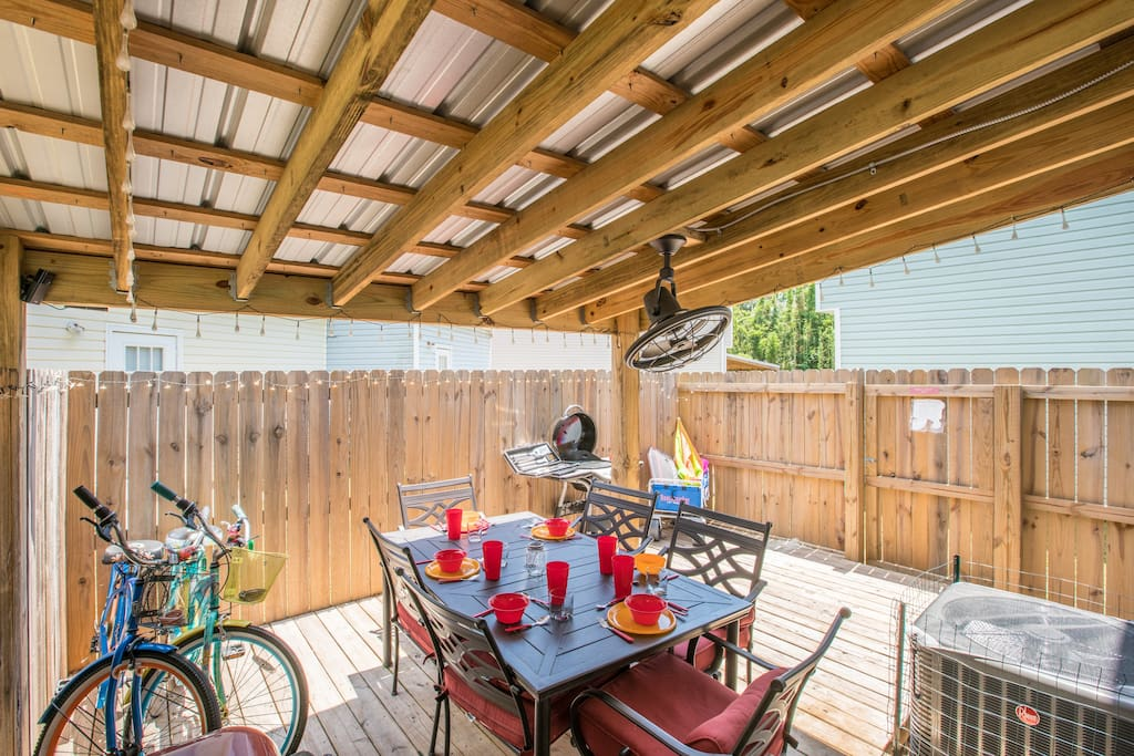 This is the largest private cover wood patio in the neighborhood.  Uniquely built so you can enjoy the patio all year long.
