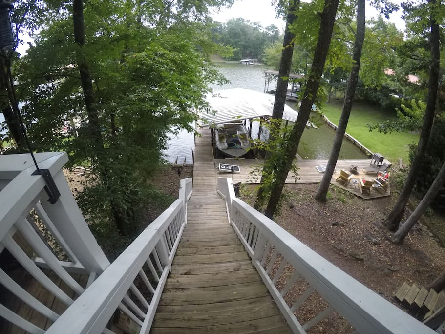 Stairs to boathouse & dock