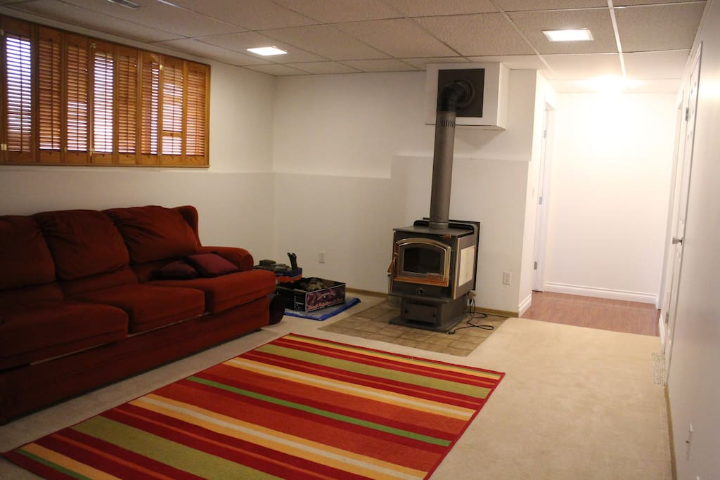 Common Area on lower (guest) level with fireplace and sofa