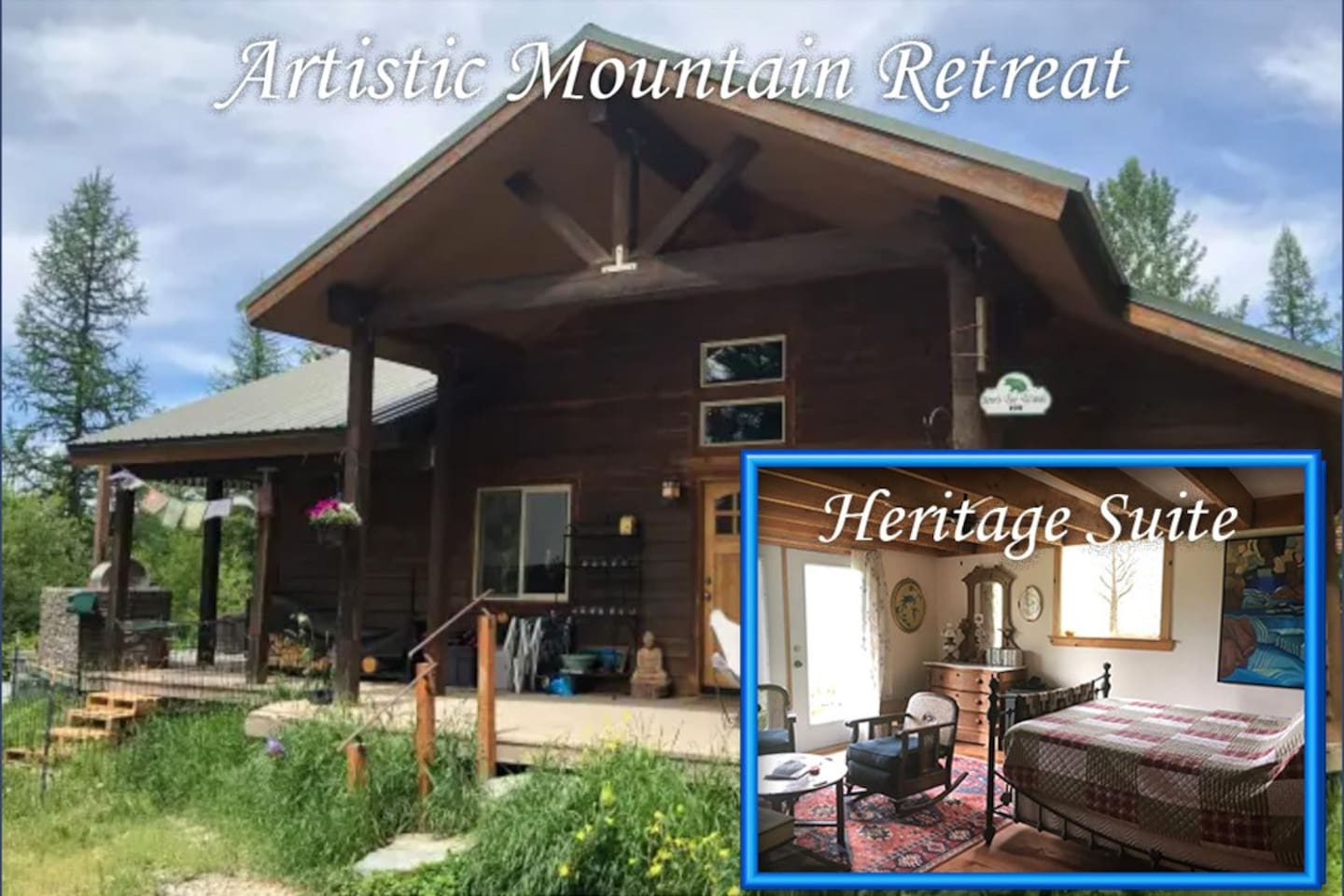 Welcome to our full suite. A large bedroom filled with art and antiques. A oversized bathroom, with bidet and soaking tub. Personal sitting areas in room and on porch. Fridge, coffee/tea station and a wide collection of movies and movie viewer.