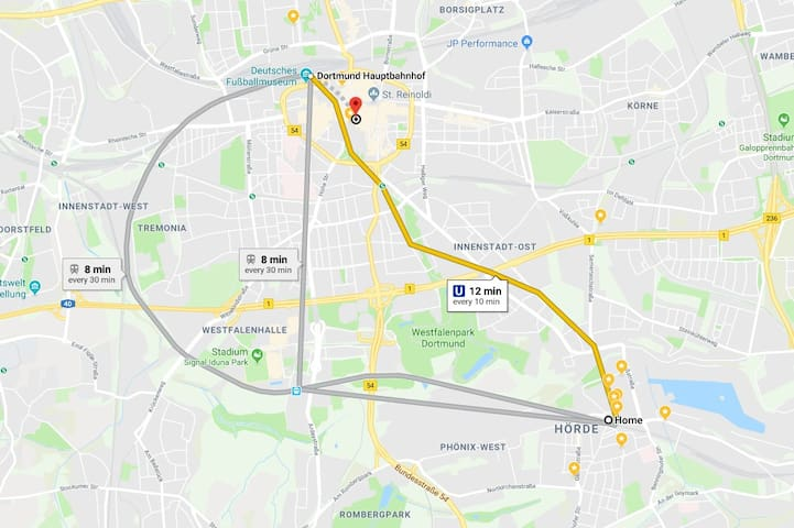 8 minutes (by train) and 12 minutes (by metro) from the apartment to the main train station in Dortmund. Metro drives every 10 minutes.