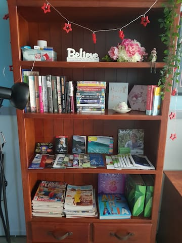 Many things of interest DVD's, books, magazines .Toys and puzzles in the draws for children .