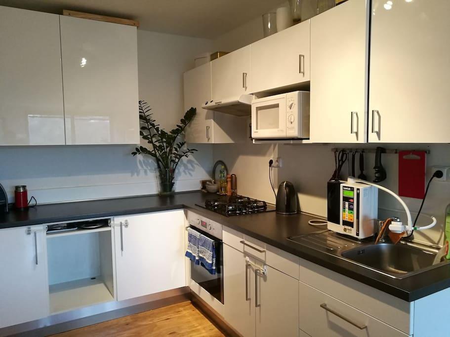 kitchen with kettle,microwave,mixer,juicer,nespresso coffee machine, kangen water cleaner