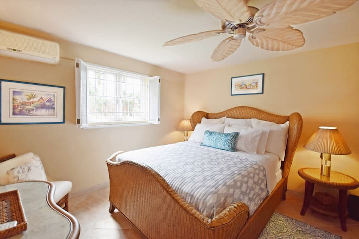 The second bedroom with queen bed, a/c and ceiling fan