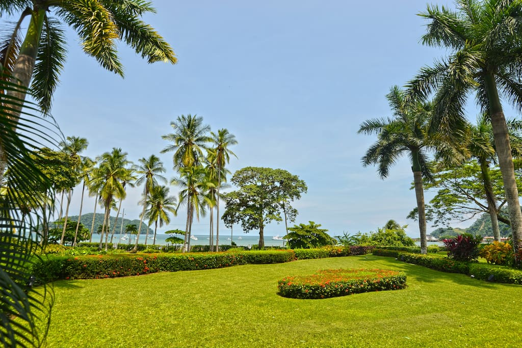 Large garden with ocean view, lots of space for the kids to play around.