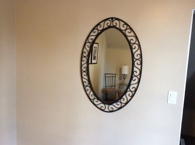 The mirror in this room.