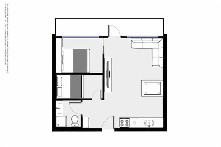 Planløsning. Det minste soverommet har ventilasjon med frisk luft som er utbedret oktober 2020. Har nå frisk luft, men ikke vindu. Det andre soverommet har to vindu.