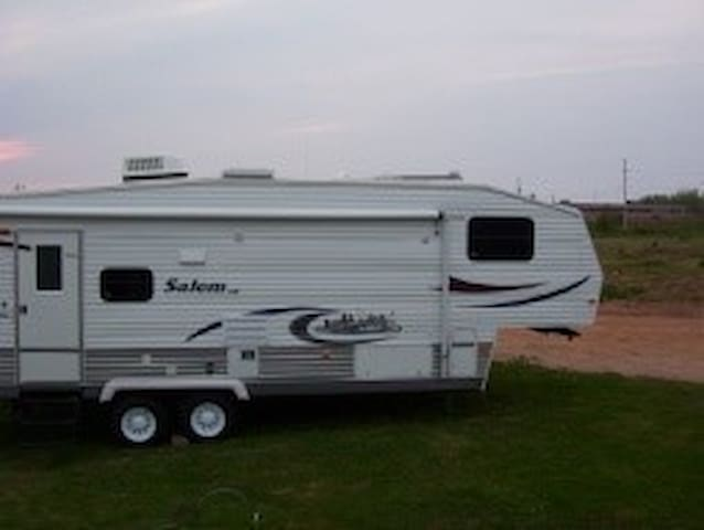 Travel Trailer setup on property
