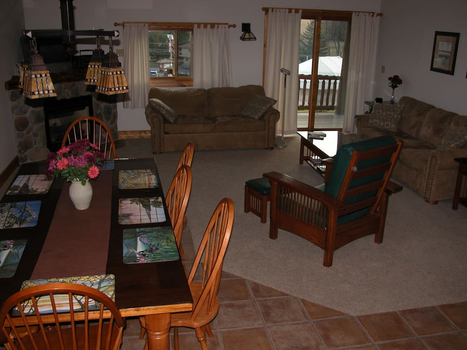 Living room and Dining room with table seating for 8