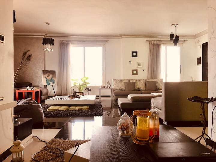 contemporary 1BR apartment with patio balcony