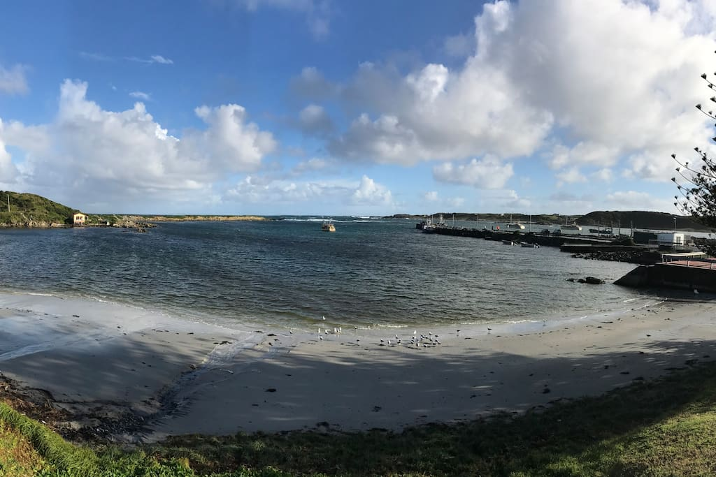 Currie Harbour, home to our Southern Rock Lobster fishing fleet.