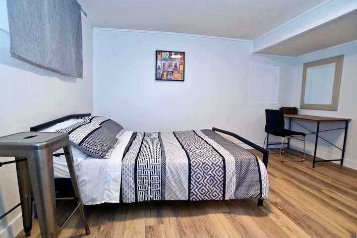 In the bedroom, you will find a very comfortable double-bed memory foam mattress.