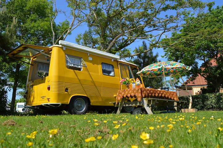 Bright yellow vintage camper for 2