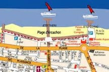 L'appartement est à 100m du débarcadère, départ vers tous les sites du bassin