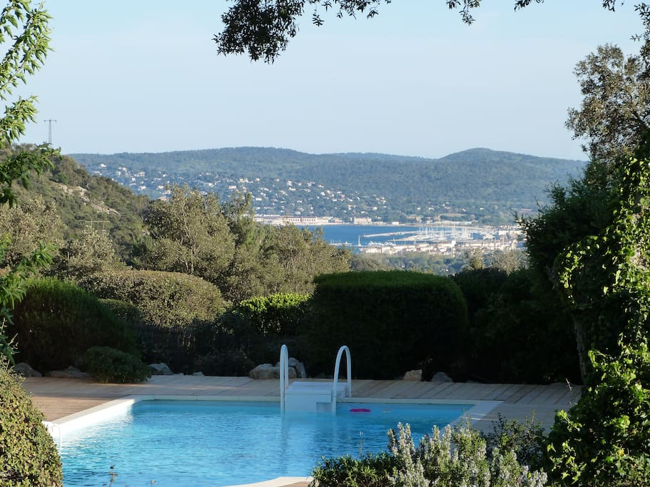 Pool with stunning views of the Bay of St Tropez