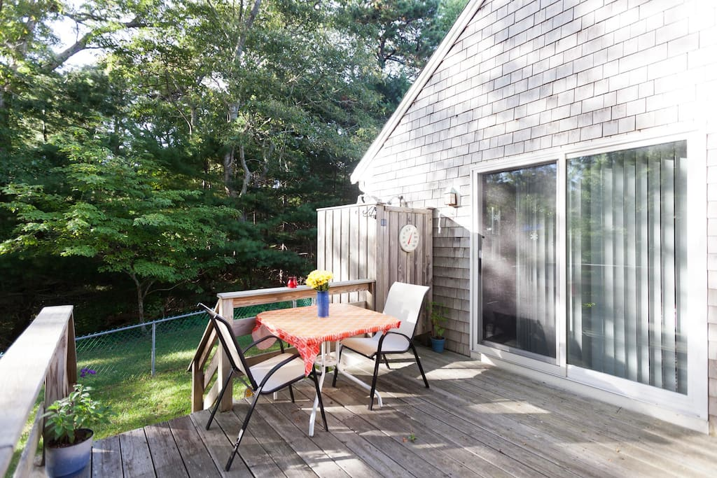 Deck for relaxing and outdoor shower