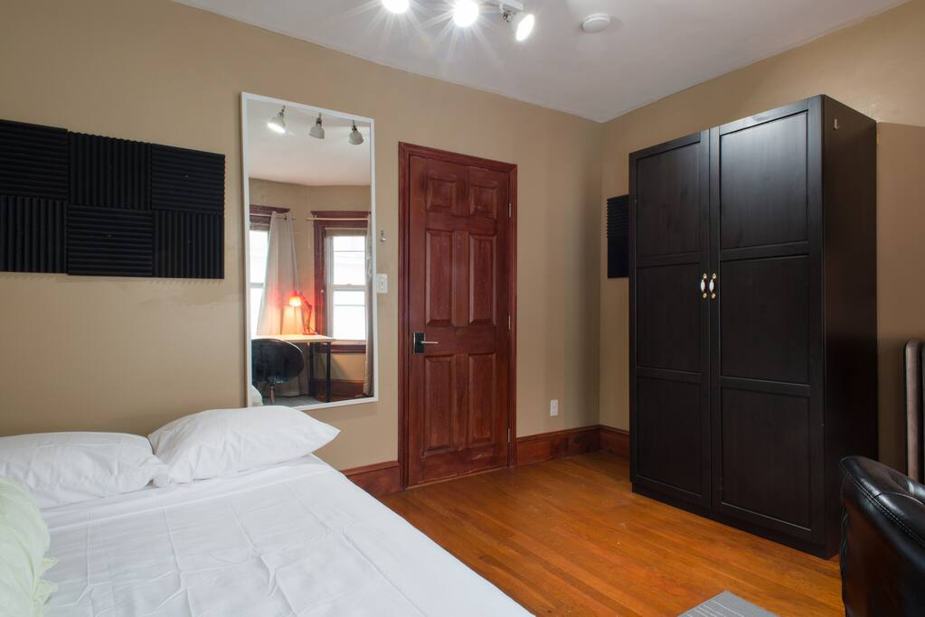 Large closet and mirrors