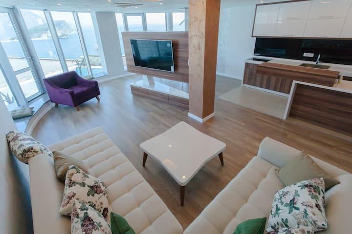 Stylish living room and smart TV-set