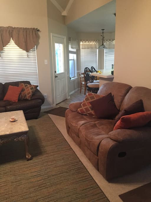 Living room, double recliner love seat