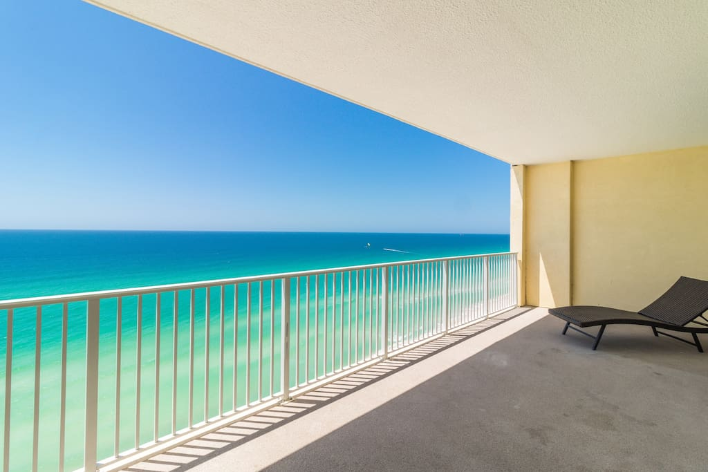 Expansive private balcony ensures everyone can spend time together watching the festivities on the beach