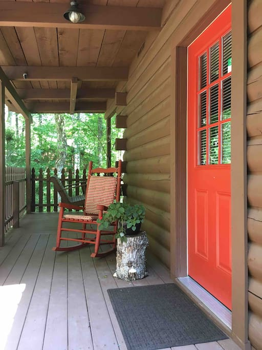 Welcome! You enter the cabin from the side entrance.