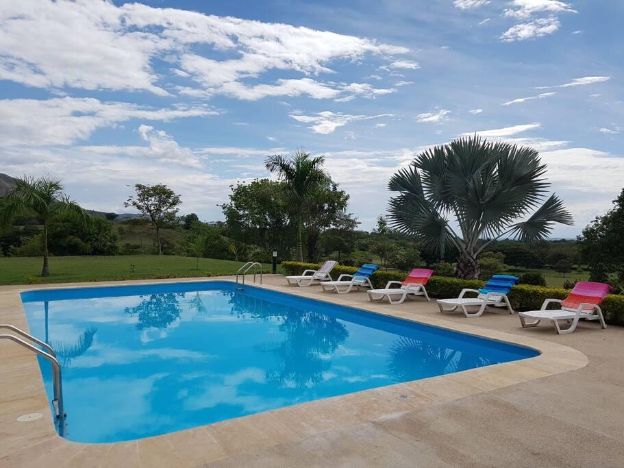 Amplia piscina: 12 metros de largo x 6 metros de ancho.