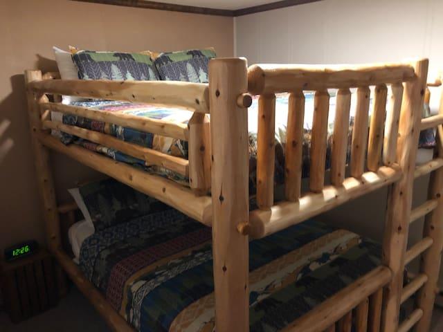 White cedar queen over queen mattress bunk beds