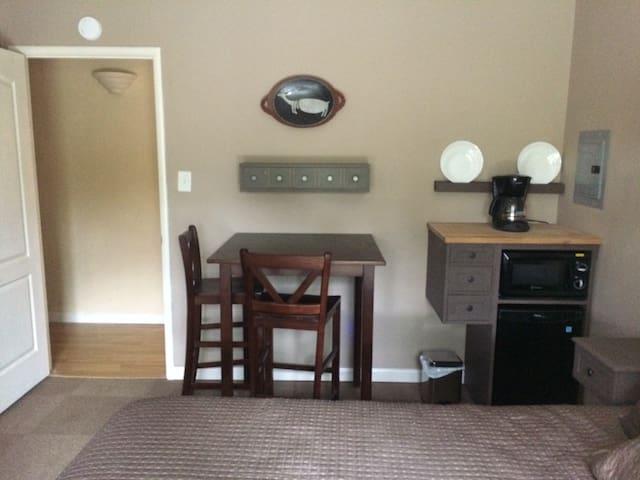 Mini-fridge, MW and Coffee Maker
