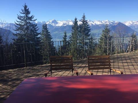 2.5 room flat with stunning views of the Alps